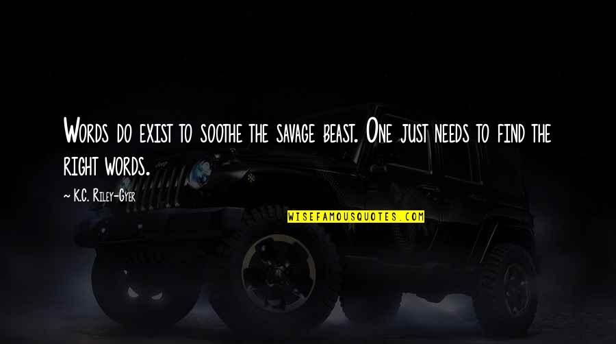 The Beast Within Quotes By K.C. Riley-Gyer: Words do exist to soothe the savage beast.