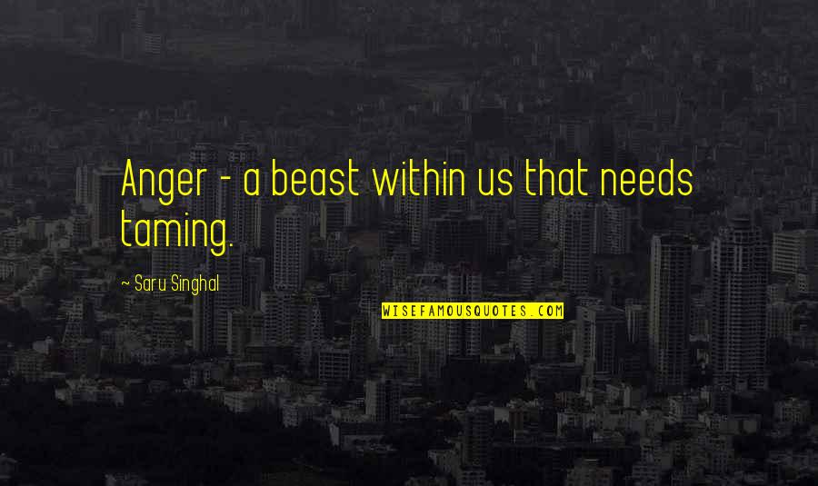 The Beast Within Quotes By Saru Singhal: Anger - a beast within us that needs