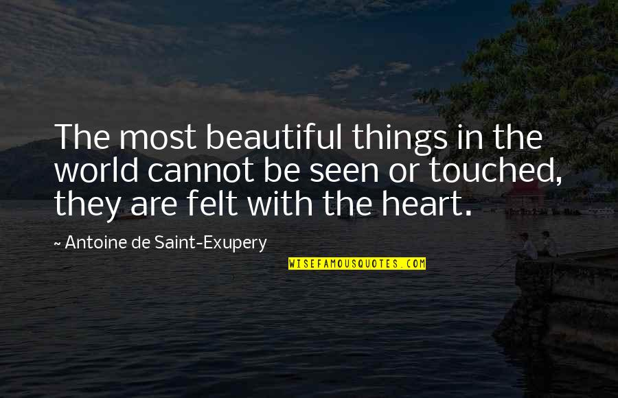 The Beautiful World Quotes By Antoine De Saint-Exupery: The most beautiful things in the world cannot