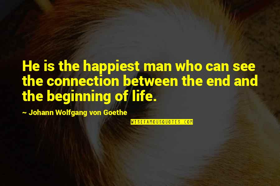 The Beginning Of The End Quotes By Johann Wolfgang Von Goethe: He is the happiest man who can see