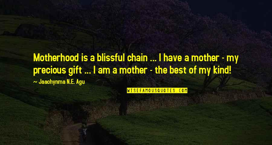 The Best Family Quotes By Jaachynma N.E. Agu: Motherhood is a blissful chain ... I have