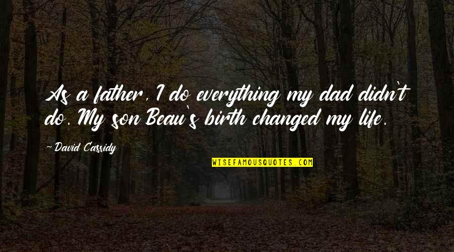 The Best Father Son Quotes By David Cassidy: As a father, I do everything my dad