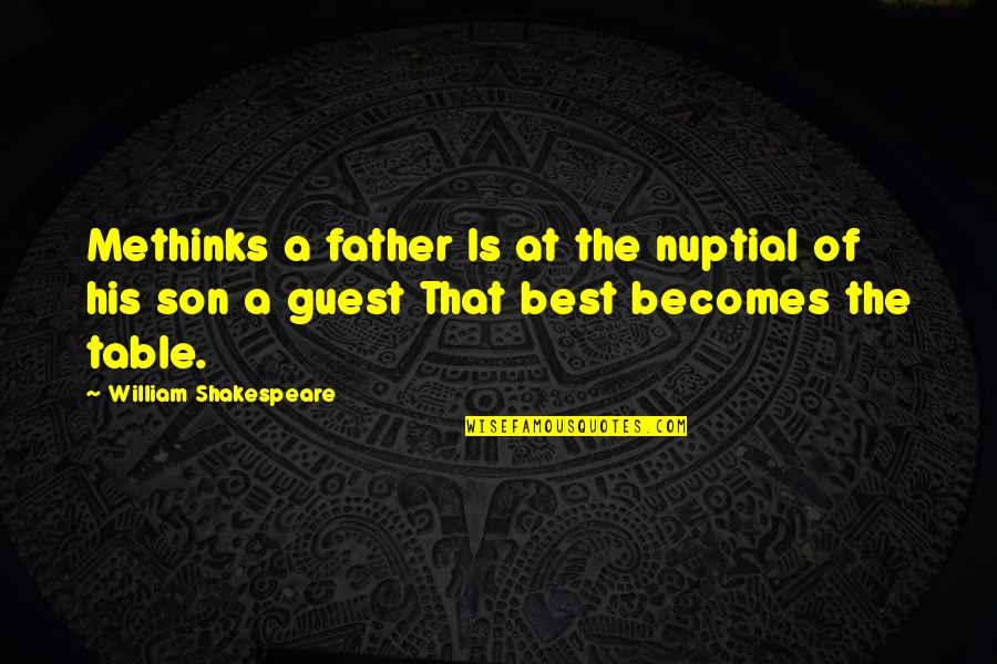 The Best Father Son Quotes By William Shakespeare: Methinks a father Is at the nuptial of