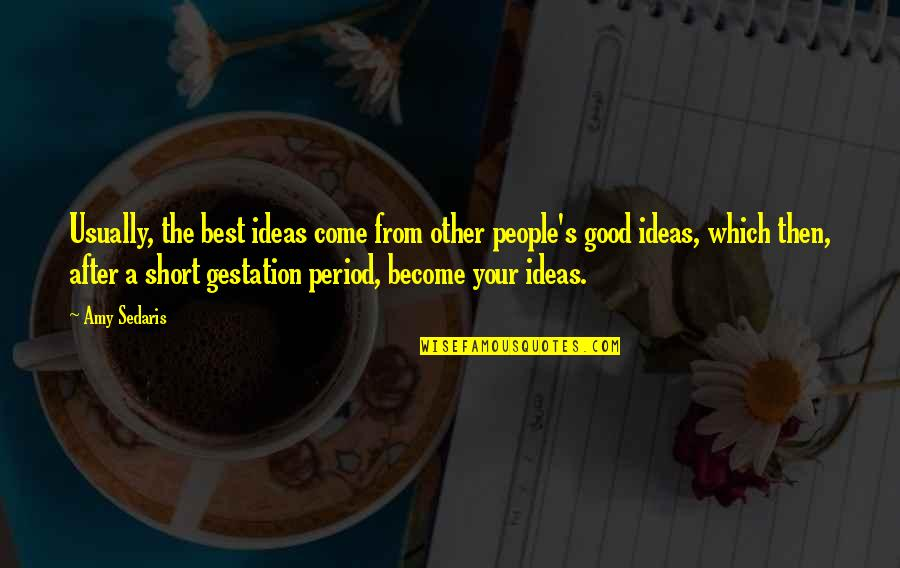 The Best Ideas Quotes By Amy Sedaris: Usually, the best ideas come from other people's
