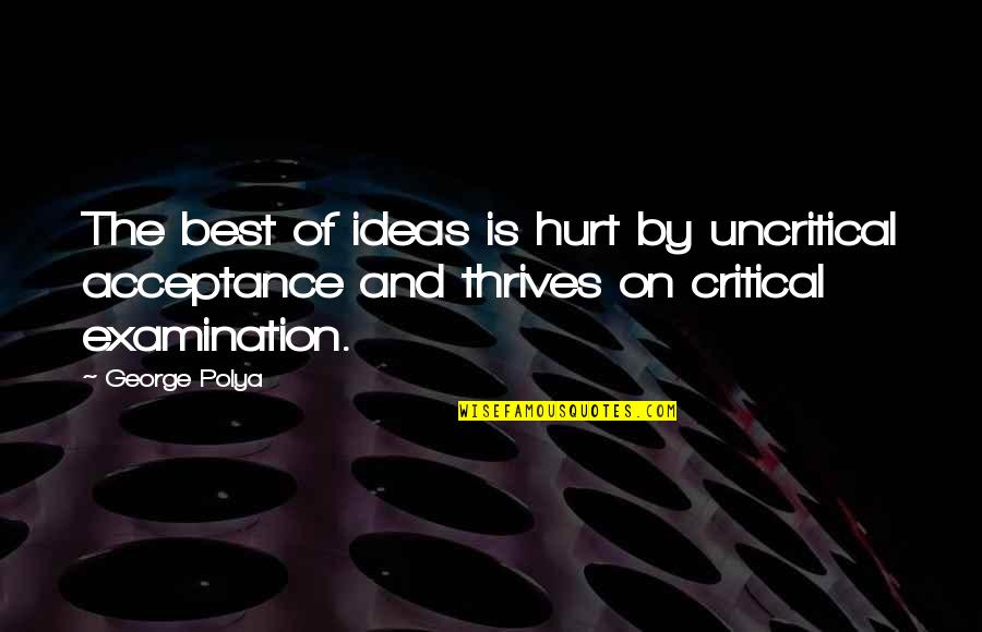 The Best Ideas Quotes By George Polya: The best of ideas is hurt by uncritical
