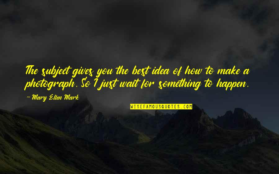 The Best Ideas Quotes By Mary Ellen Mark: The subject gives you the best idea of