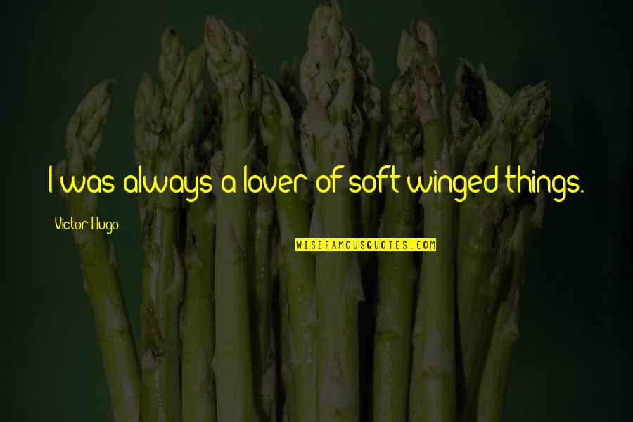 The Best Lover Quotes By Victor Hugo: I was always a lover of soft-winged things.