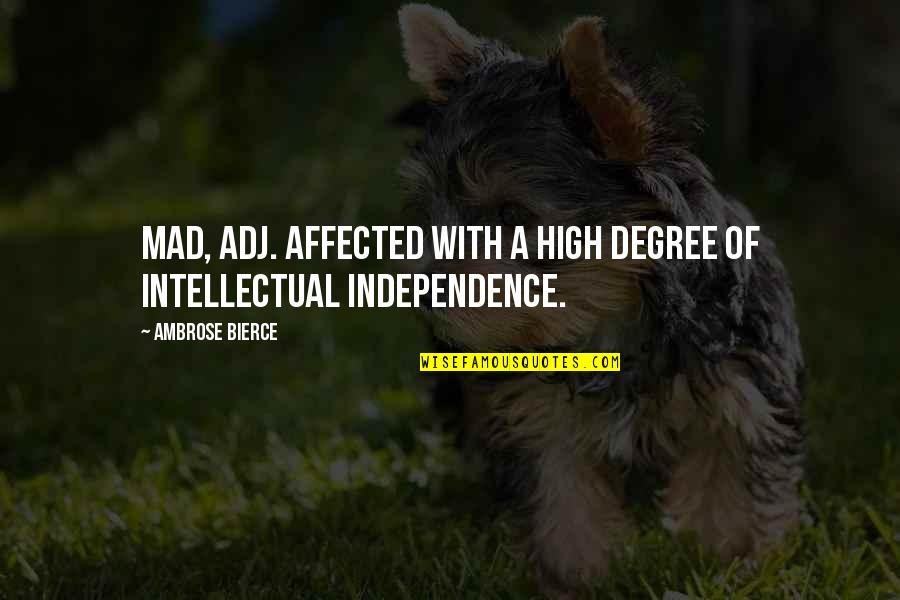 The Best Mad Quotes By Ambrose Bierce: Mad, adj. Affected with a high degree of