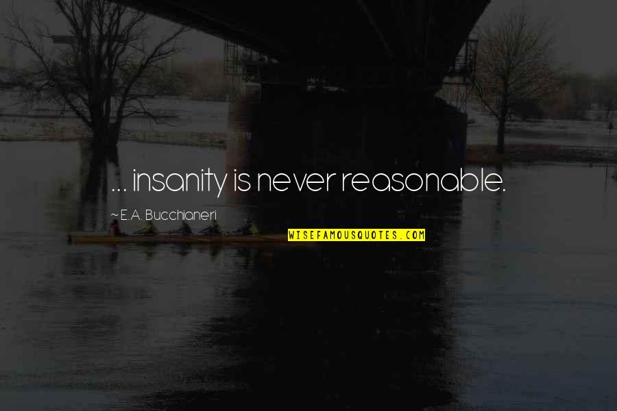 The Best Mad Quotes By E.A. Bucchianeri: ... insanity is never reasonable.