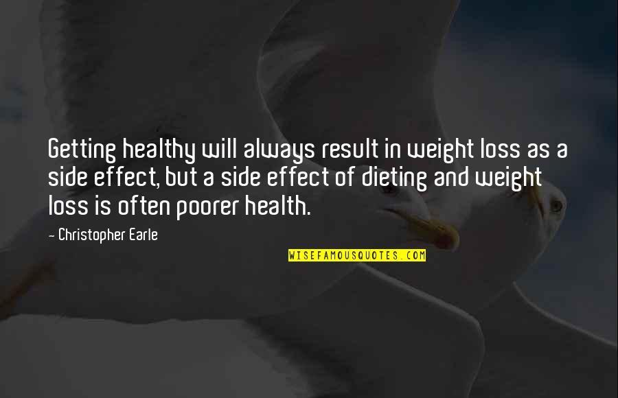 The Best Weight Loss Quotes By Christopher Earle: Getting healthy will always result in weight loss