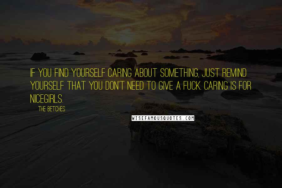 The Betches quotes: If you find yourself caring about something, just remind yourself that you don't need to give a fuck. Caring is for nicegirls.