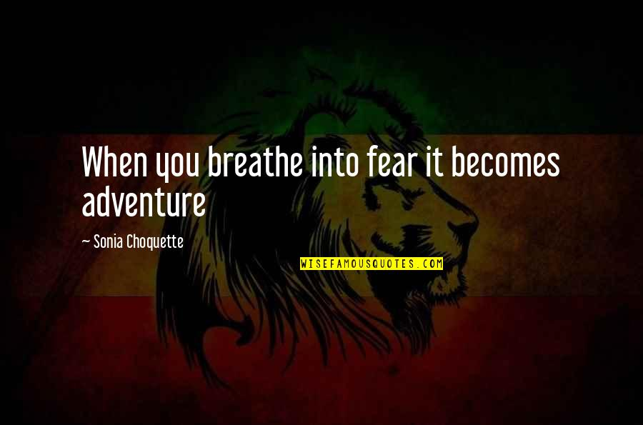 The Biggest Smiles Quotes By Sonia Choquette: When you breathe into fear it becomes adventure
