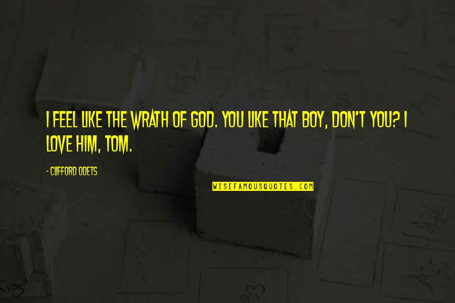 The Boy I Like Quotes By Clifford Odets: I feel like the wrath of God. You