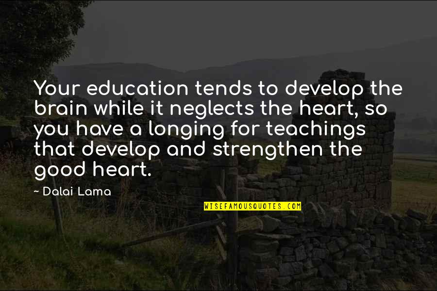The Brain And Heart Quotes By Dalai Lama: Your education tends to develop the brain while