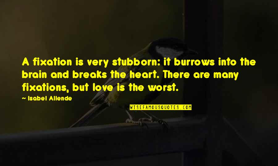 The Brain And Heart Quotes By Isabel Allende: A fixation is very stubborn: it burrows into