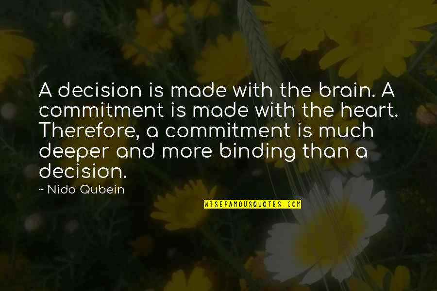 The Brain And Heart Quotes By Nido Qubein: A decision is made with the brain. A