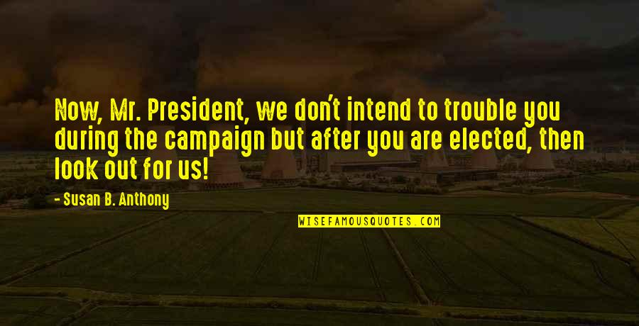 The Campaign Quotes By Susan B. Anthony: Now, Mr. President, we don't intend to trouble