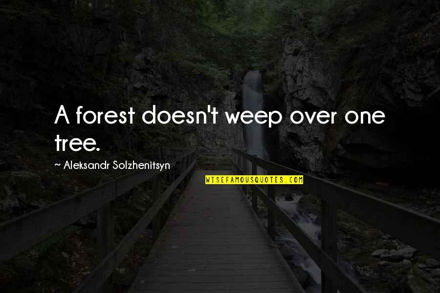 The Chicago Bears Quotes By Aleksandr Solzhenitsyn: A forest doesn't weep over one tree.