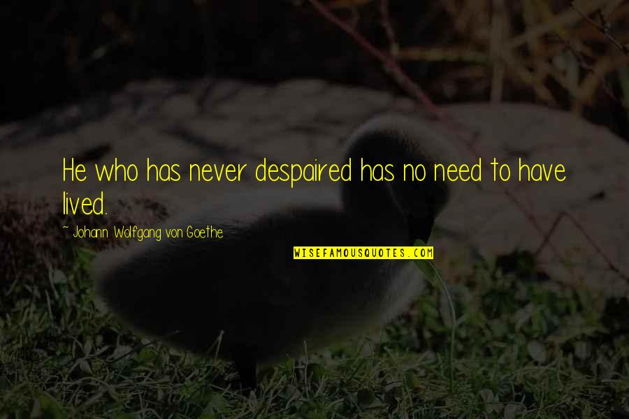 The Closers Michael Connelly Quotes By Johann Wolfgang Von Goethe: He who has never despaired has no need