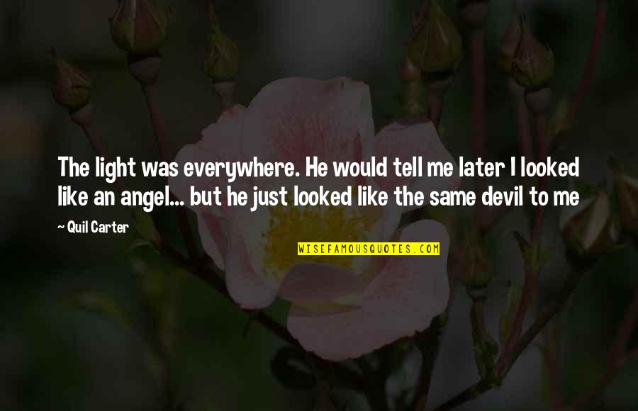 The Devil And Angel Quotes By Quil Carter: The light was everywhere. He would tell me