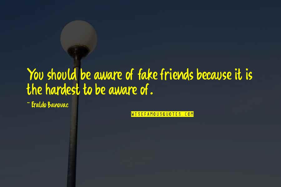 The Discoverers Quotes By Eraldo Banovac: You should be aware of fake friends because