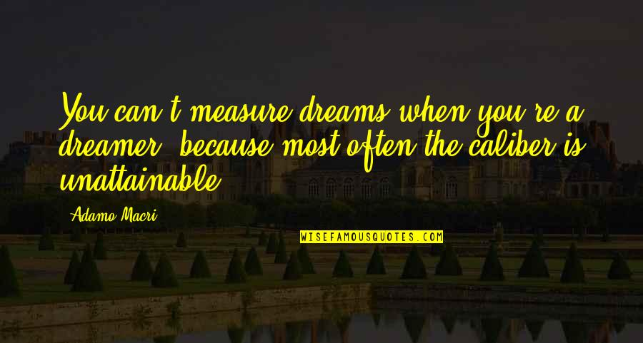 The Dreamer Quotes By Adamo Macri: You can't measure dreams when you're a dreamer,