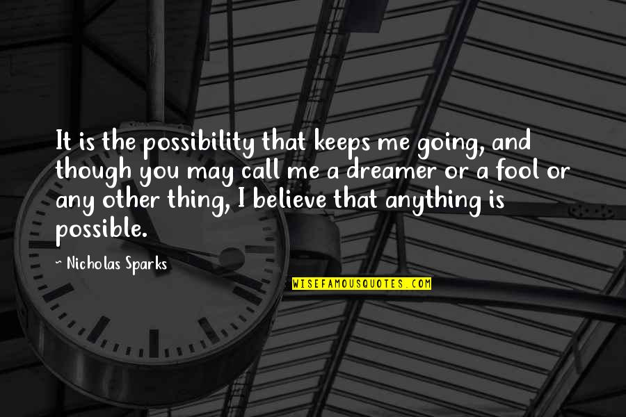 The Dreamer Quotes By Nicholas Sparks: It is the possibility that keeps me going,