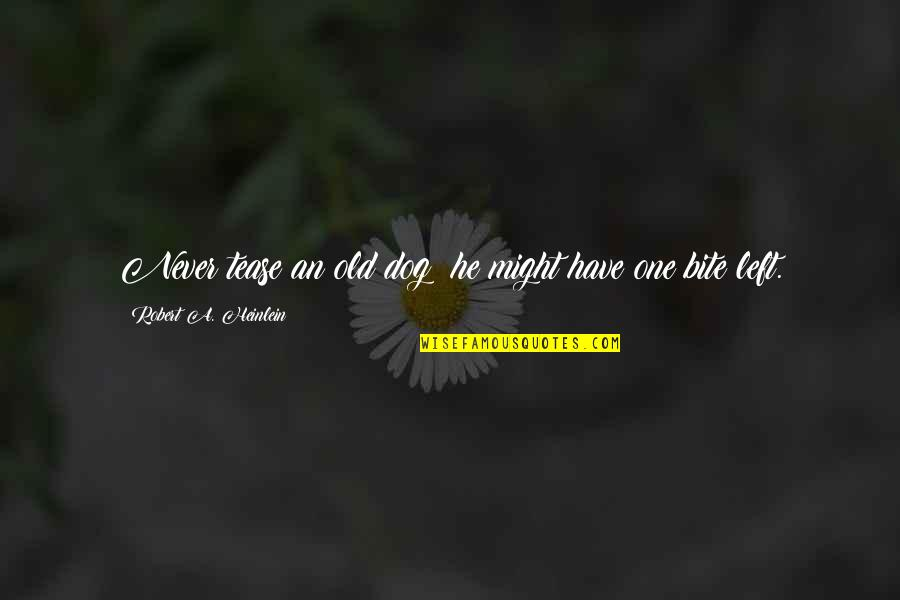 The Elderly And Aging Quotes By Robert A. Heinlein: Never tease an old dog; he might have