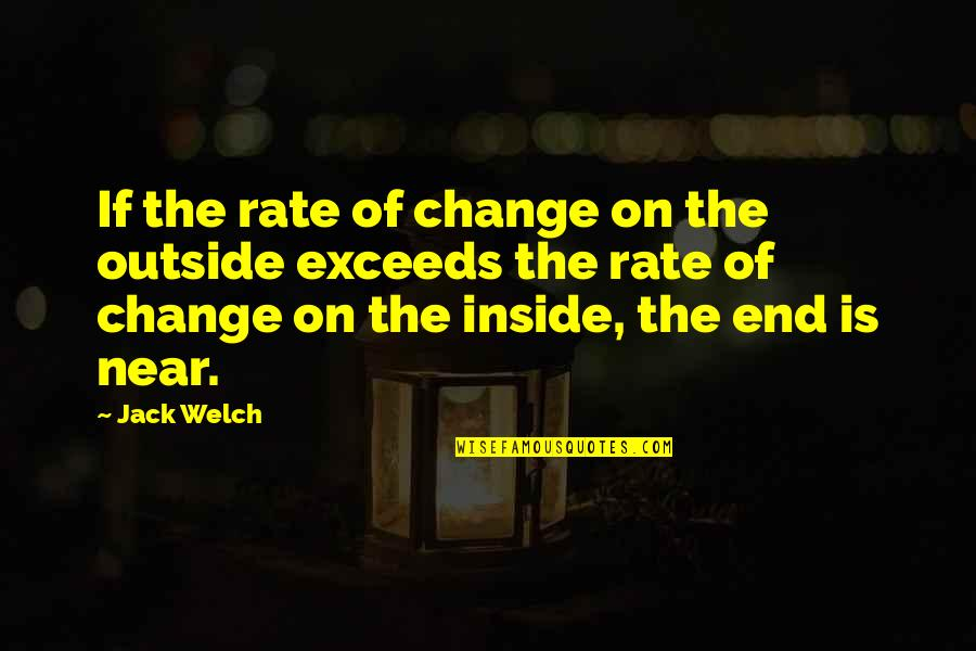 The End Is Near Quotes By Jack Welch: If the rate of change on the outside