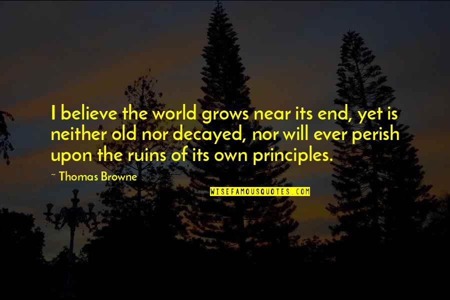 The End Is Near Quotes By Thomas Browne: I believe the world grows near its end,