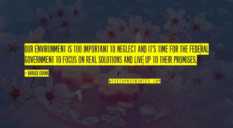 The Environment You Live In Quotes By Barack Obama: Our environment is too important to neglect and