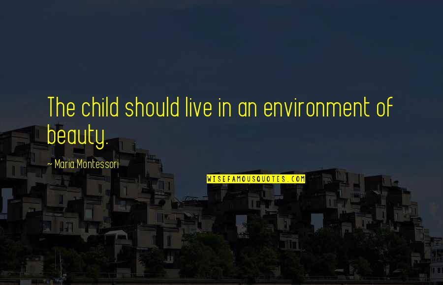 The Environment You Live In Quotes By Maria Montessori: The child should live in an environment of