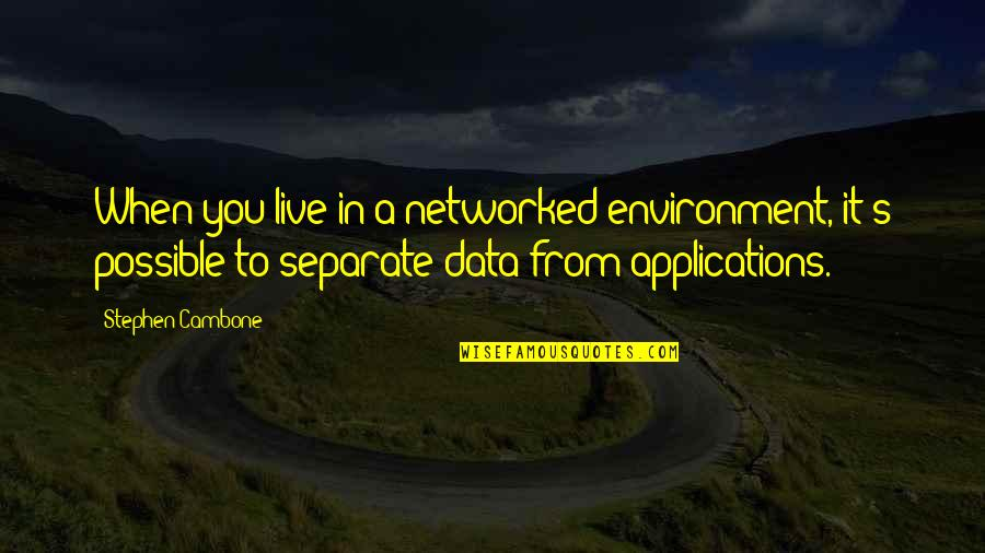 The Environment You Live In Quotes By Stephen Cambone: When you live in a networked environment, it's