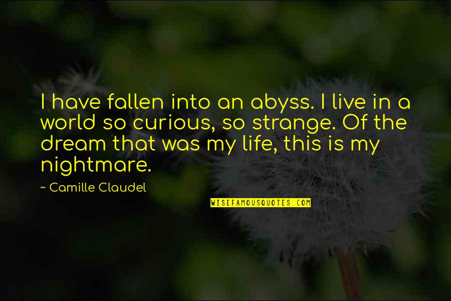 The Fallen World Quotes By Camille Claudel: I have fallen into an abyss. I live