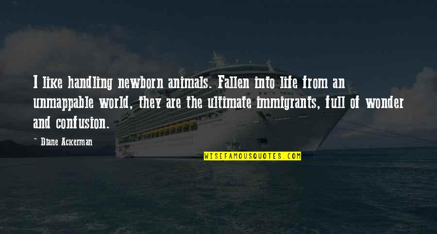 The Fallen World Quotes By Diane Ackerman: I like handling newborn animals. Fallen into life