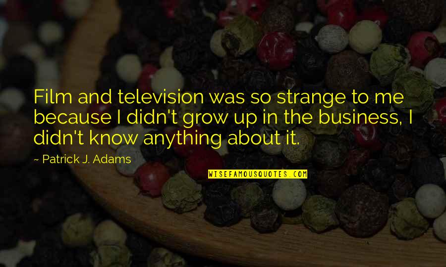 The Film Up Quotes By Patrick J. Adams: Film and television was so strange to me