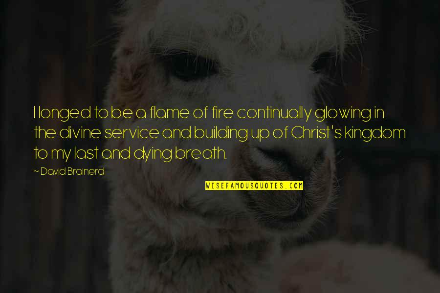 The Fire Service Quotes By David Brainerd: I longed to be a flame of fire