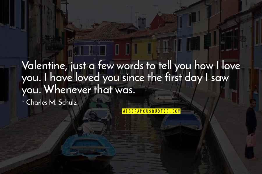The First Day Quotes By Charles M. Schulz: Valentine, just a few words to tell you