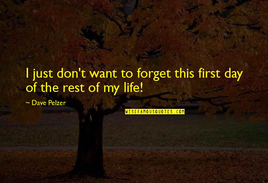 The First Day Quotes By Dave Pelzer: I just don't want to forget this first