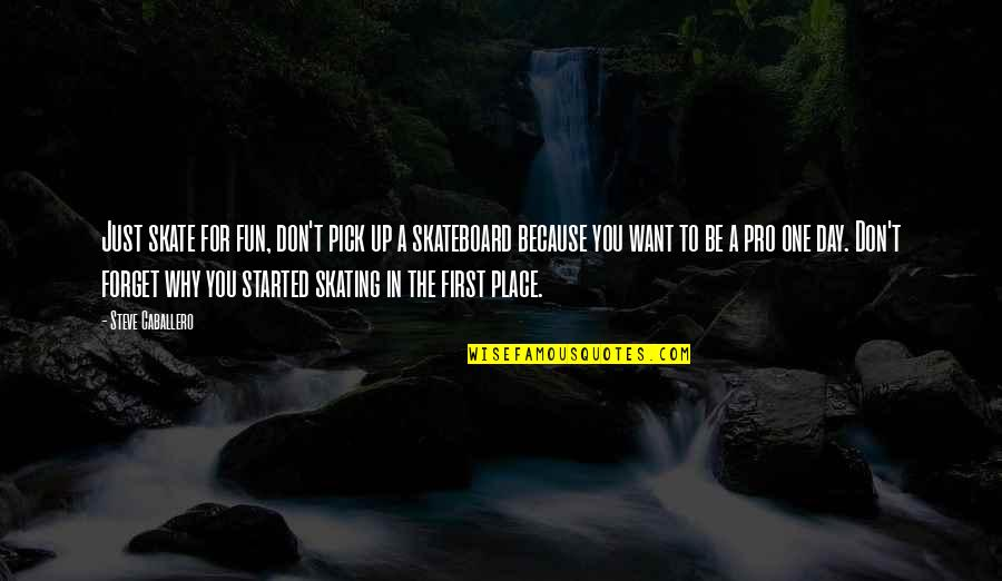 The First Day Quotes By Steve Caballero: Just skate for fun, don't pick up a