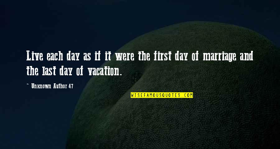 The First Day Quotes By Unknown Author 47: Live each day as if it were the