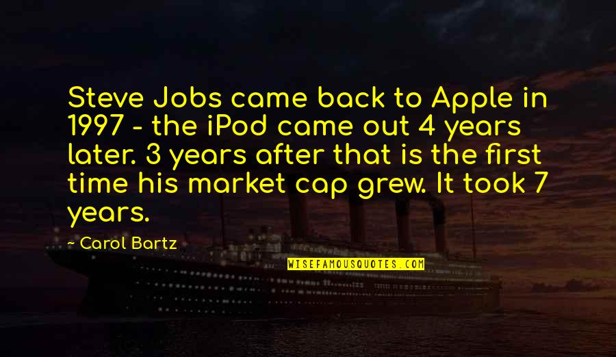 The First Ipod Quotes By Carol Bartz: Steve Jobs came back to Apple in 1997