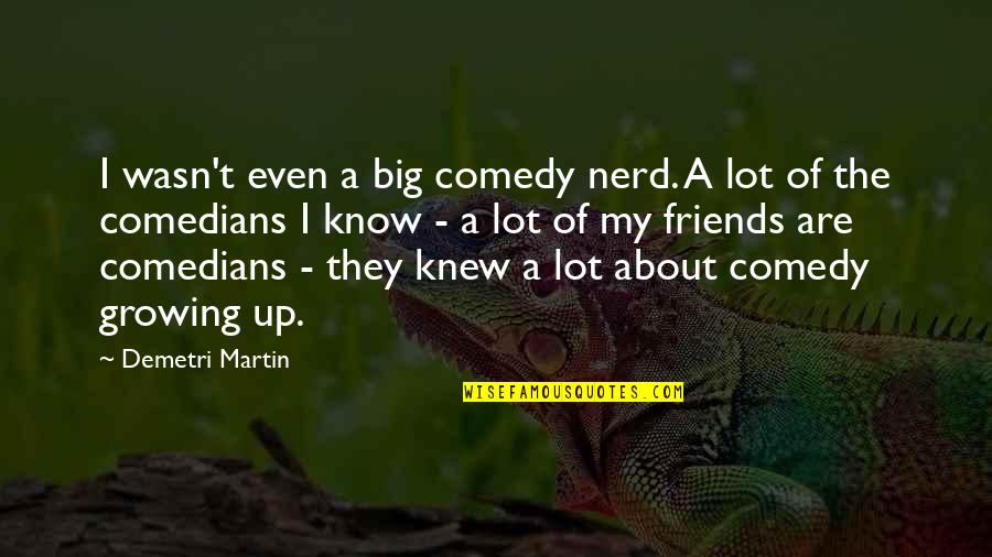 The Friends Quotes By Demetri Martin: I wasn't even a big comedy nerd. A