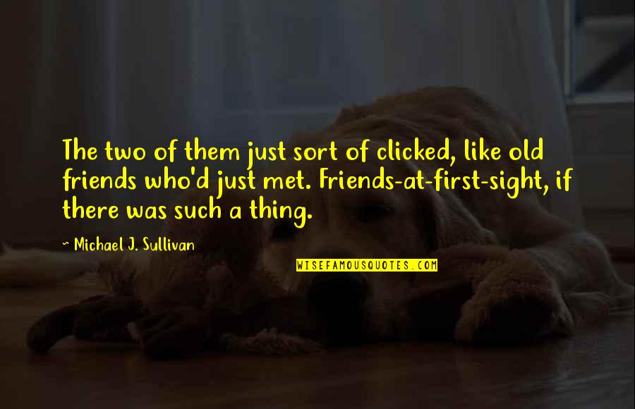 The Friends Quotes By Michael J. Sullivan: The two of them just sort of clicked,