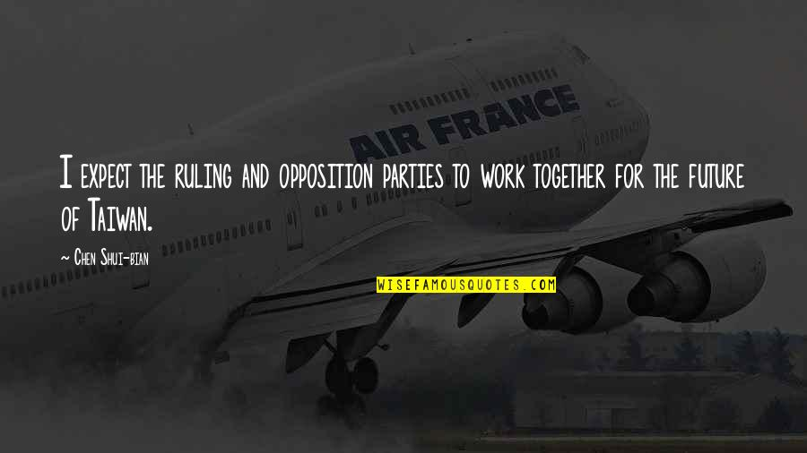 The Future Together Quotes By Chen Shui-bian: I expect the ruling and opposition parties to