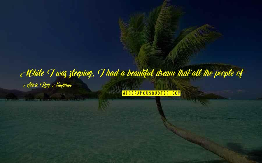 The Future Together Quotes By Stevie Ray Vaughan: While I was sleeping, I had a beautiful