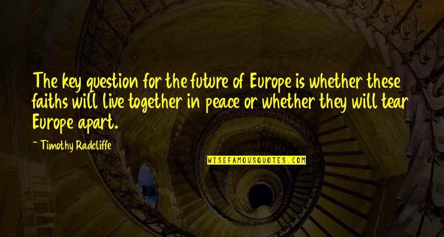 The Future Together Quotes By Timothy Radcliffe: The key question for the future of Europe