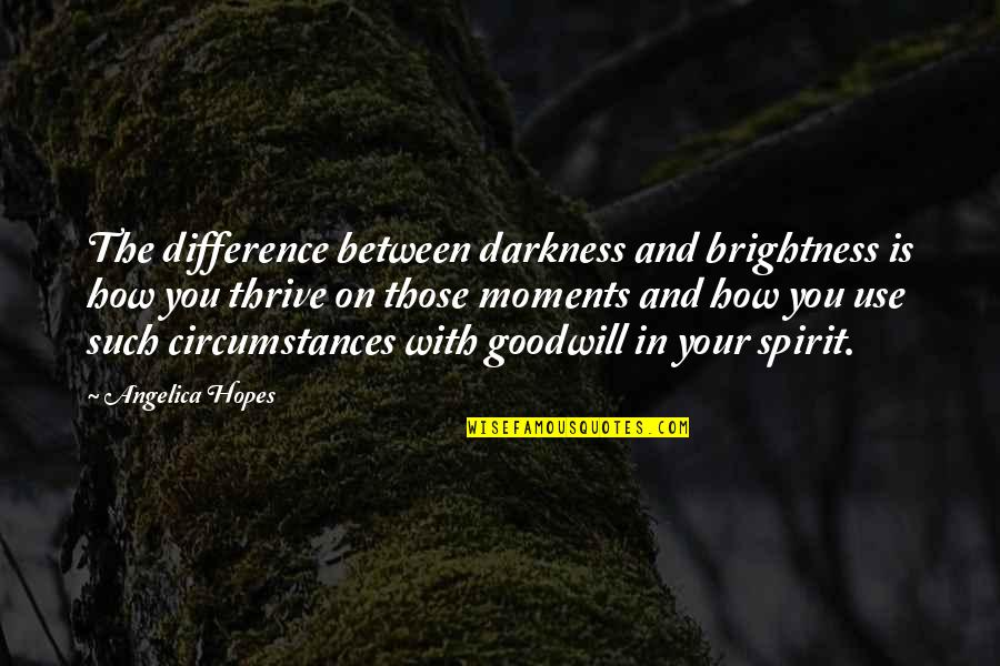 The Good And Bad In Life Quotes By Angelica Hopes: The difference between darkness and brightness is how