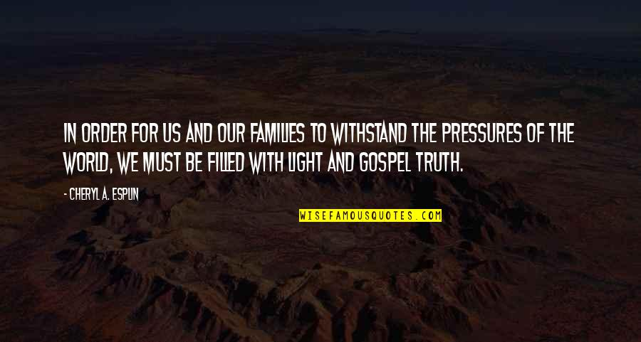 The Gospel Quotes By Cheryl A. Esplin: In order for us and our families to