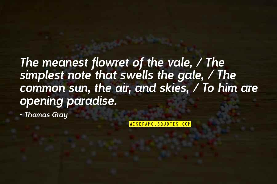 The Gray Sky Quotes By Thomas Gray: The meanest flowret of the vale, / The